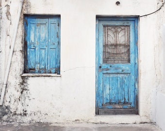 "Greece photography aqua blue wooden door architecture window print pastel wall art  ""Weathered Blues"""