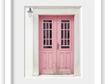 Pink door print Greece photography wall art window architecture house entryway 'Lovely Pink Doors'