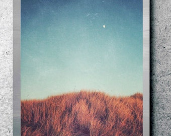 Blue landscape photography large wall art zen minimal wall art copper rust brown sand dunes 'Distant Moon'
