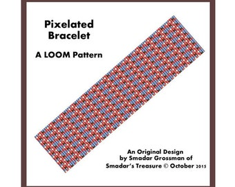 Bracelet Beading Pattern, Loom Stitch / Pixelated / Abstract Intricate Looming Pattern,  Instant Digital Download PDF Jewelry Making Pattern