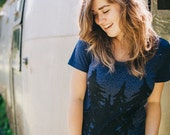 Starry Night women's tshirt - graphic tee women - camping print on indigo blue - gift for her - ladies top - camping shirt by Blackbird Tees