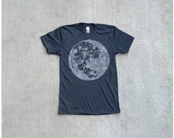 Mens tshirt - full moon screenprint on heather black - t shirt for men | fathers day - My Moon, My Man by Blackbird Tees - CLOSEOUT