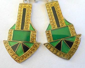 ART DECO Enamel Brooch Bar Pin and Earrings