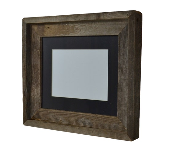 8x10 natural wood picture frame with 5x7 or 6x8 mat by barnwood4u. Black Bedroom Furniture Sets. Home Design Ideas