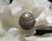 Beautiful Crazy Lace Agate Jasper Ring 6.75