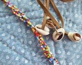 Vintage 1960's Beaded Leather Belt or Necklace