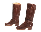 size 7.5 PLATFORM brown leather 70s 80s BOHEMIAN campus GRUNGE knee high boots