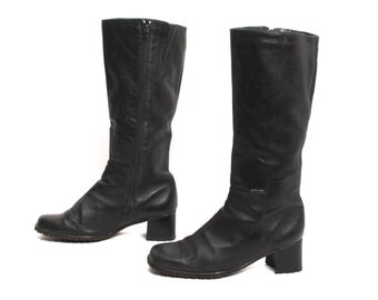 size 8 CAMPUS black leather 80s 90s KNEE HIGH equestrian zip up tall boots