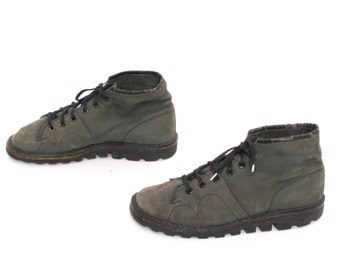 size 8.5 COMBAT green leather 80s 90s DOC MARTEN style lace up boots
