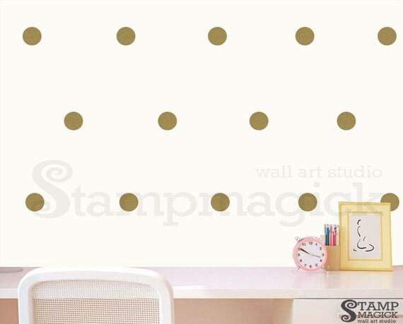 Metallic Gold Polka Dots Wall Decal - Round Wall Stencil Pattern ...