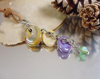 Handmade lampwork glass bead pendant, Artisan glass beads, necklace charm, glass bead pendant, purple bead, ivory beads, boho pendant, SRA