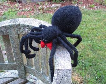Plush Black Widow Spider, Halloween Decor, Stuffed Animal Spider Fiber Art Sculpture. Plush Black Widow Spider