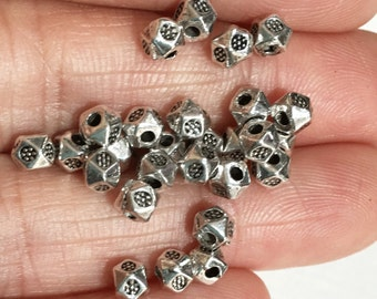 90 pcs antique silver polygon spacer beads 3x3.5mm,  metal spacer beads