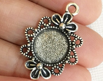 6 antique silver alloy cabochon setting 30x21mm, antique silver pendant setting