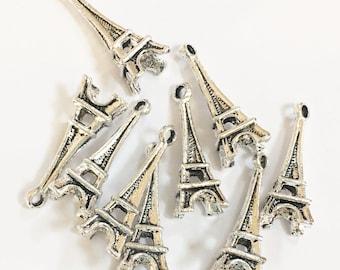 Bulk 70 Antique silver Eiffel tower  charm 10x24mm, Antique silver alloy charm