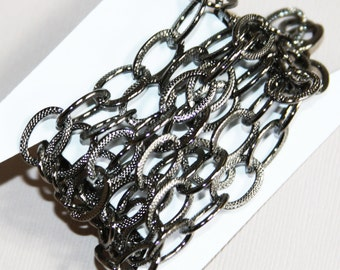40 inch light Gunmetal plated steel chain, flat texture chain , Black texture open link chain 13x9mm, electroplated chain