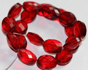 6 pcs of Red  glass faceted puffed oval beads 12x16mm