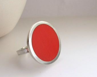 Big Red Ring - One Inch Round Rings - Pop Jewellery- Coral Scarlet Resin Jewelry - Gift for Her