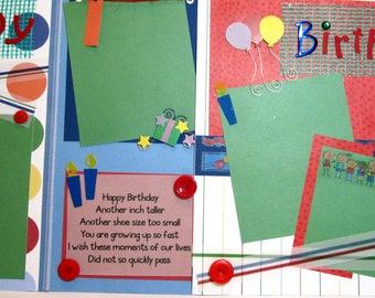 Scrapbook Pages Premade Birthday TWO Page Layout - kitsnbitscraps