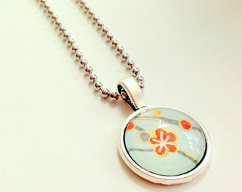 "NEW - 18mm Glass Cabochon Pendant -Blue Cherry Blossom design  -18"" Silver Plated OR Ball chain"