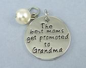 Grandmother Pendant, Grandma Pendant, The Best Moms Get Promoted to Grandma Silver Charm |S27-4|1 set