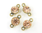 Light Peach Pink Rhinestone Gold Circular Jewelry Connector Link Earring Finding Jewelry Component |P4-11|4