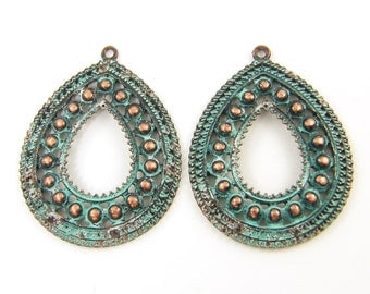 Copper Earring Findings Verdigris Patina Teardrop Granulated Pendant Jewelry Supply |CO2-16|2