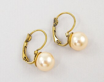 Pink Pearl Antique Gold Lever Back Earring Findings Hook Ear Wire with Jump Ring |P4-8|2