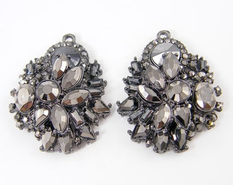 Hematite Color Dark Gray Silver Rhinestone Chandelier Earring Chunky Gunmetal Crystal Encrusted Vintage Style Necklace Findings  LG11-7 2M