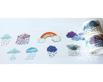 Colorful Clouds Washi Tape • Raining Clouds • Rainbow • Weather (184239)