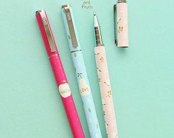 Fruits Pen 0.5mm Black Ink • Fairy Tale Gel Pen • Fruits Pen • Cute Pen • Planner Supplies • Gifts for her • Apple • Pear