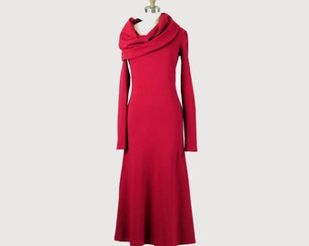 Alena Designs - Iris - Long Flared Cowl Neck Dress Cotton French Terry