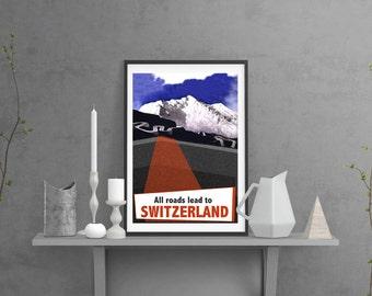 Switzerland Vintage Style Giclée Art Print A3