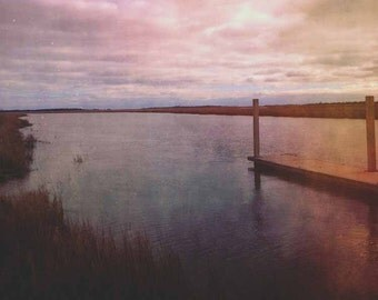 Morning in the Low Country . salt marsh photograph . coastal art . cloud photo .  dreamy photography . pink plum blue . water photograph