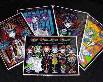 SALE Myka Jelina Fantasy Art Coloring Pages All Five Sets Fairy Steampunk Rockabilly Hippie Rainbow Circus