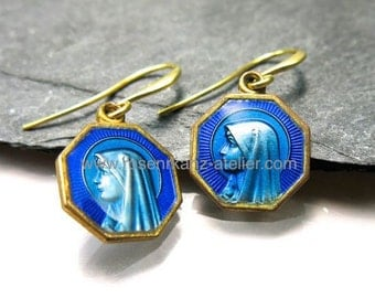 Earrings antique Lourdes enamel goldplated medal