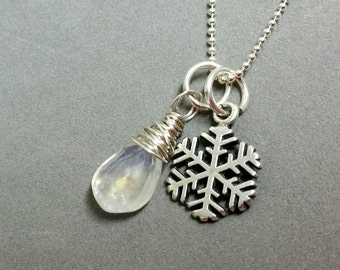 Moonstone Necklace, Snowflake Necklace, Sterling Silver Snow Flake Necklace, Holiday Charm Necklace 18 inches by Maggie McMane Designs