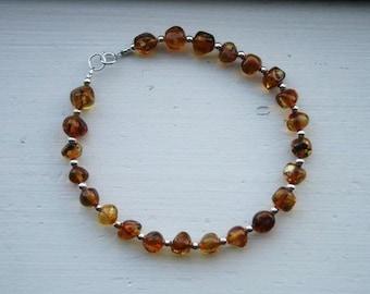 Baltic Amber & Sterling Silver Bracelet//Anklet//Modern Jewelry//Boho Chic//Minimalist Jewelry//Sterling Silver