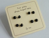 Four pairs of 5mm loop backed black glass eyes for toy & doll  making