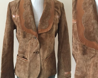 Vintage Brown Suede blazer 1980s Jacket Sz M