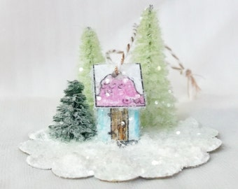 Vintage Retro Putz Style Magical Miniature Blue Glitter Woodland Out House Warming Cottage for Winter Fairy Garden Christmas Village or Tree
