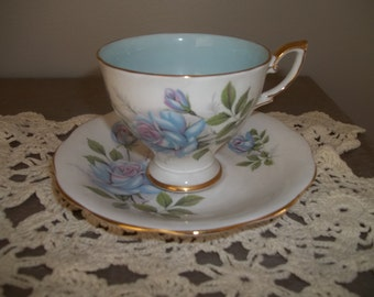 Royal Standard Fascination Bone China Cup & Saucer, Blue Roses, Gold Rim, Tea Cup