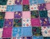 "Frozen Rag Quilt Blanket 48 "" X 56"" Elsa Anna Olaf Sparkle Cotton Flannel Baby Toddler Girl Teen"
