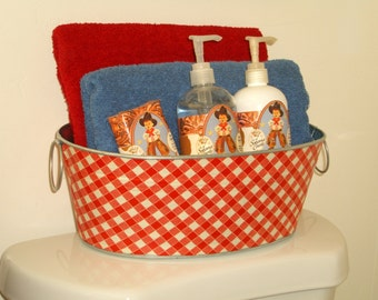 Red and White Country Gingham Medium Short Oval Tub - Great for Bathroom Toiletries!