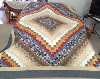 King or Queen Size, Trip Around the World - Multi-Color Quilt, Hand Made