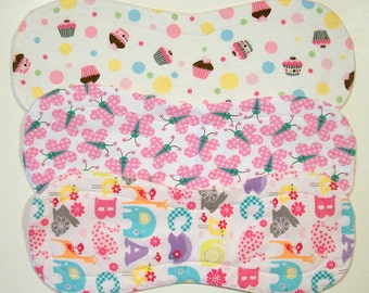 Quilted Contoured Baby Burp Cloths ~ Set of 3 ~Triple Layer ~ Flannel & Fleece ~ Baby Girl ~ Set #BC/33A
