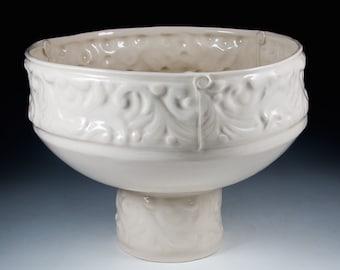 Handmade White Porcelain Wedding Bowl on a Pedestal