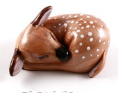 Sleeping Fawn Figurine - hand sculpted baby deer - woodland animal collectible for nature lovers - made to order