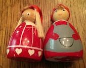 Vintage Christmas Wooden Enamel Painted Elf Ladies