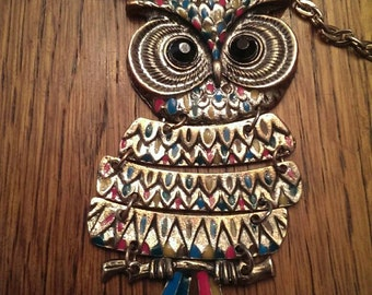Funky Silver Tone Owl Necklace